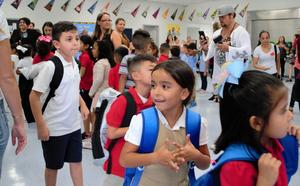 Nonprofit Baby2Baby partnered with Disney to provide more than 700 backpacks for every Tracy Elementary student, with those in transitional kindergarten through first-grade participating in a dance warmup alongside ABC Family and Disney Channel stars on Aug. 20.