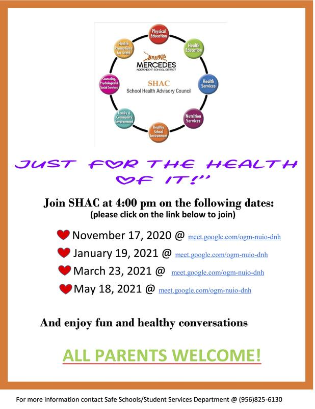 Mercedes ISD School Health Advisory Council invites you to