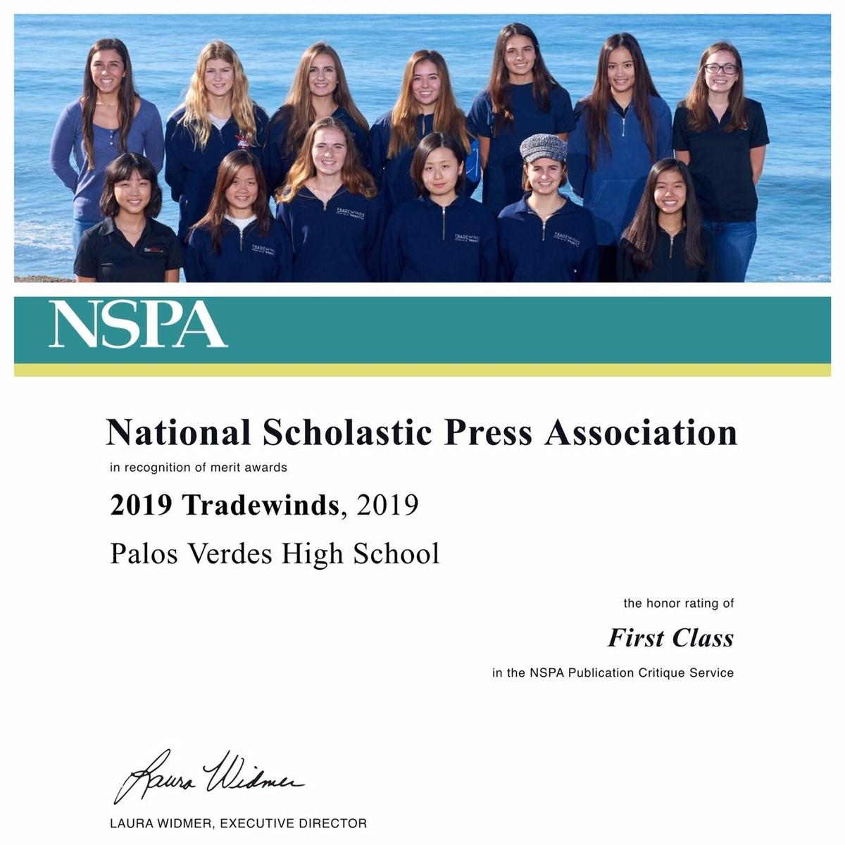 NSPA Award to Tradewinds August 2019