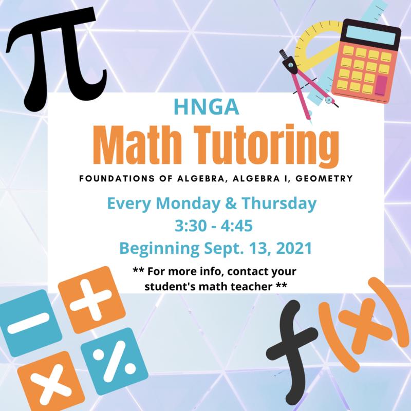Math tutoring starts Monday!