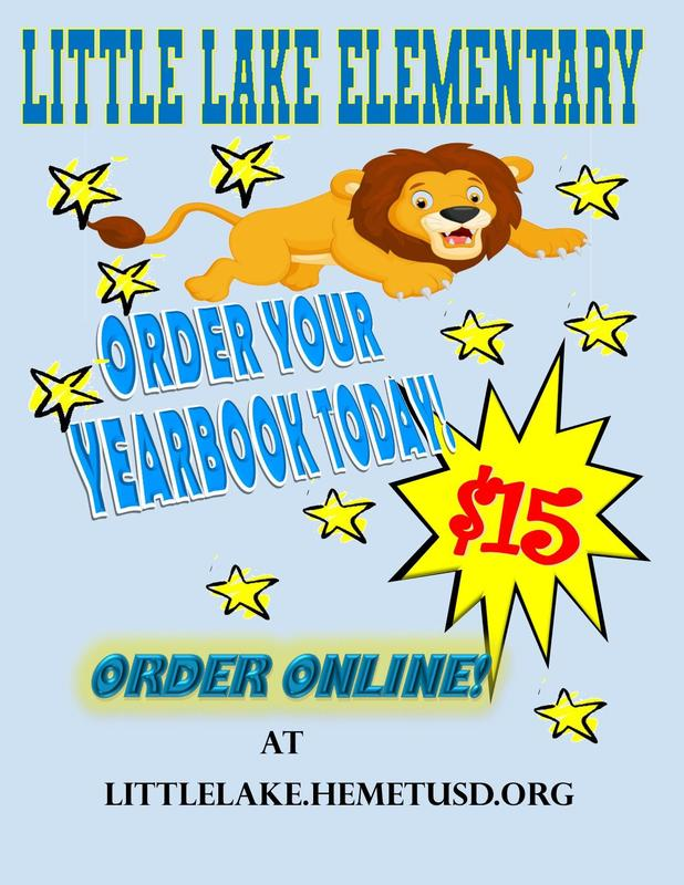 Flying Lion with the words, Little Lake Elementary Order Your Yearbook Today. $15. Order Online at Littlelake.hemetusd.org