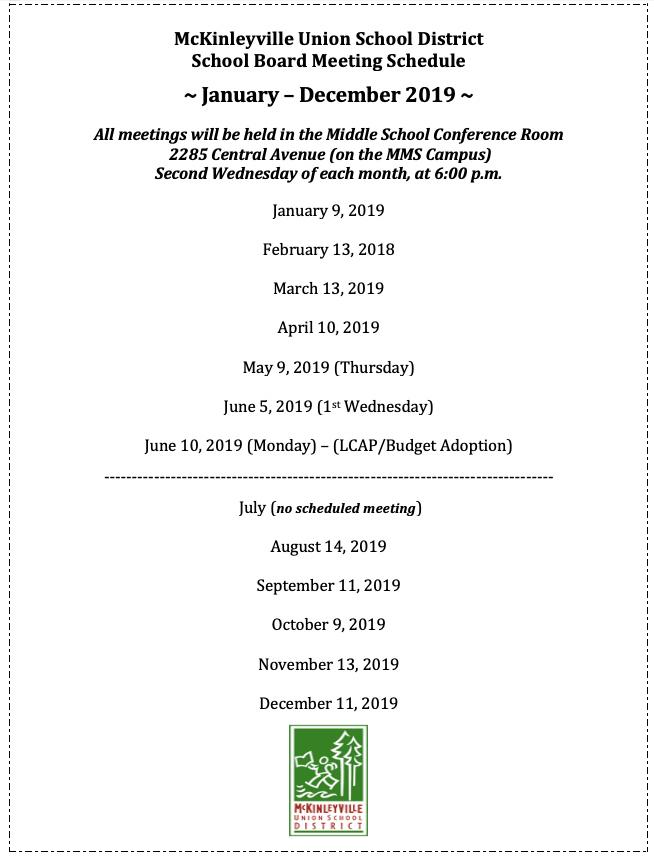 Revised Board Meeting Schedule