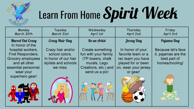 Learn From Home Spirit Week Flyer