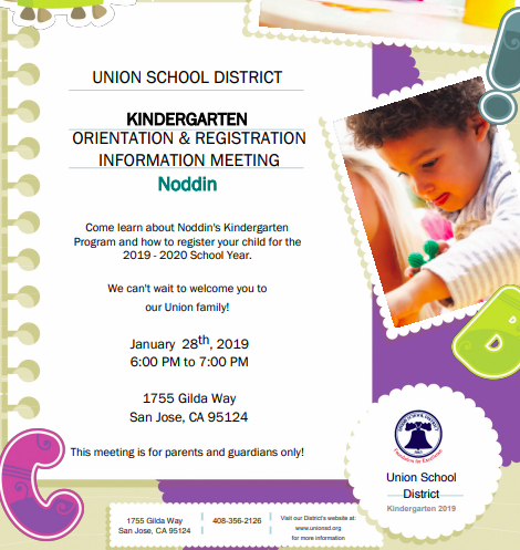 Kindergarten Orientation: Monday, January 28 @ 6pm (all incoming Kindergartners - new or from TK) (Click Here For More Details) Featured Photo