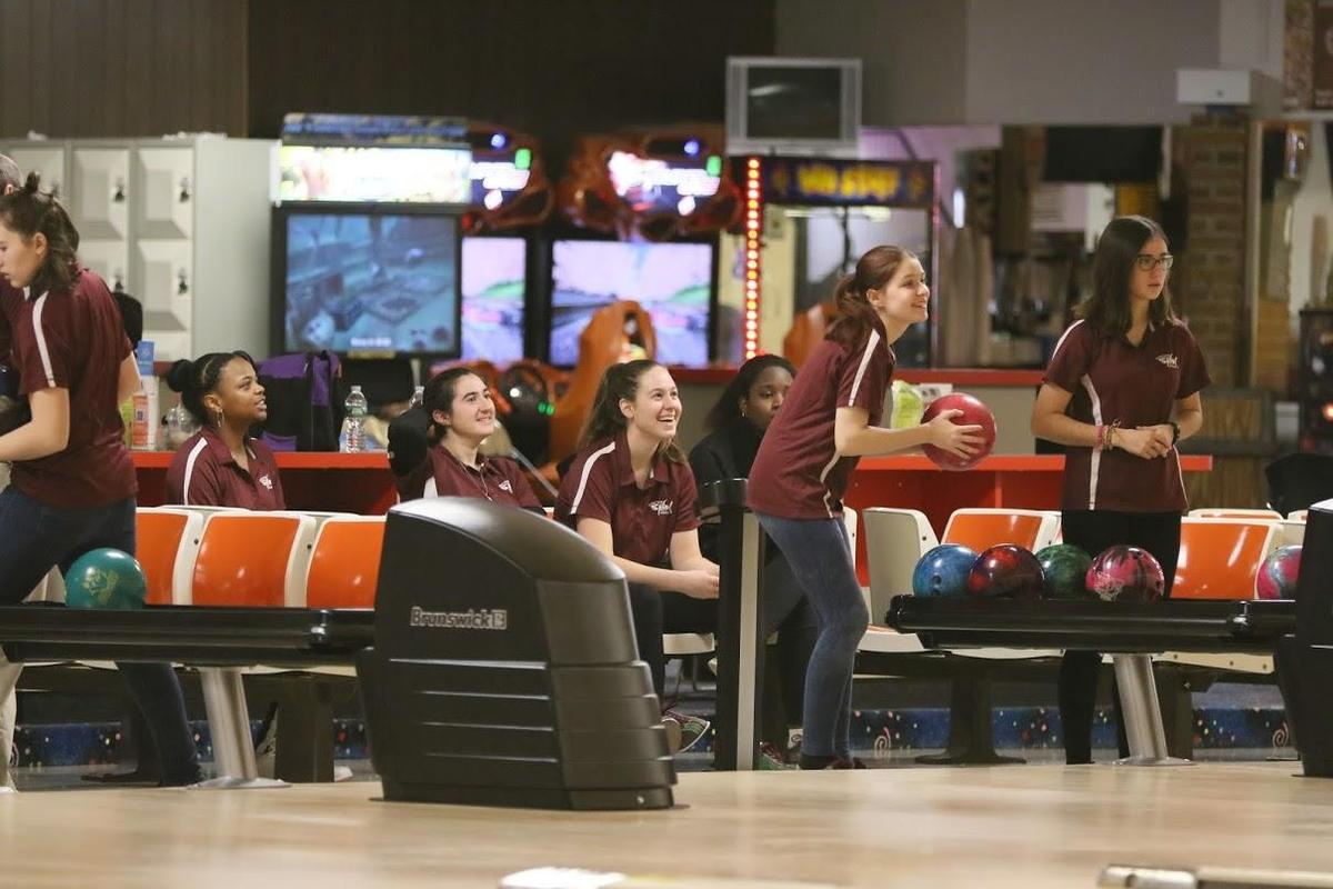 Bowling team at practice