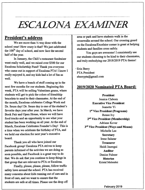 Escalona Examiner February 2019 Featured Photo