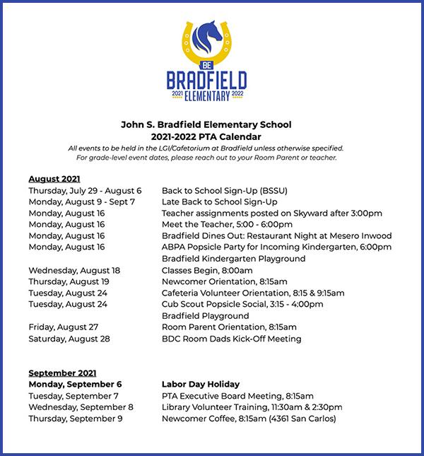 Bradfield elementary 2021-2022 PTA Calendar