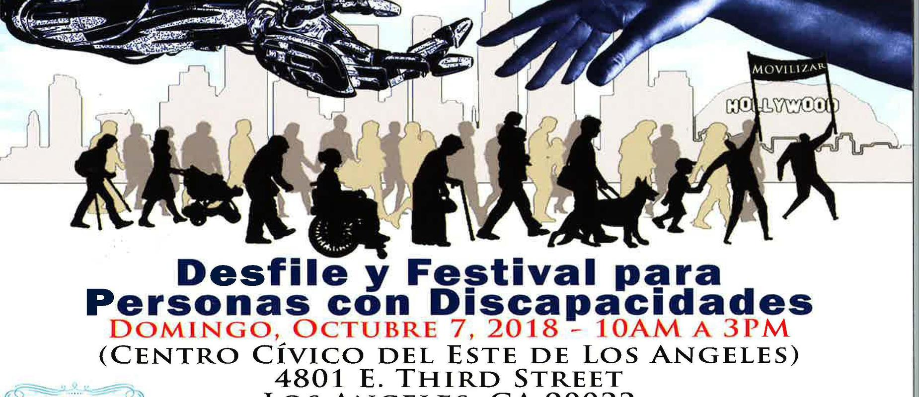 Save the date postcard for Disability Pride Parade and Festival on October 7, 2018 at the East LA Civic Center. Postcard displays silhouette of people marching in a parade(Spanish Version).