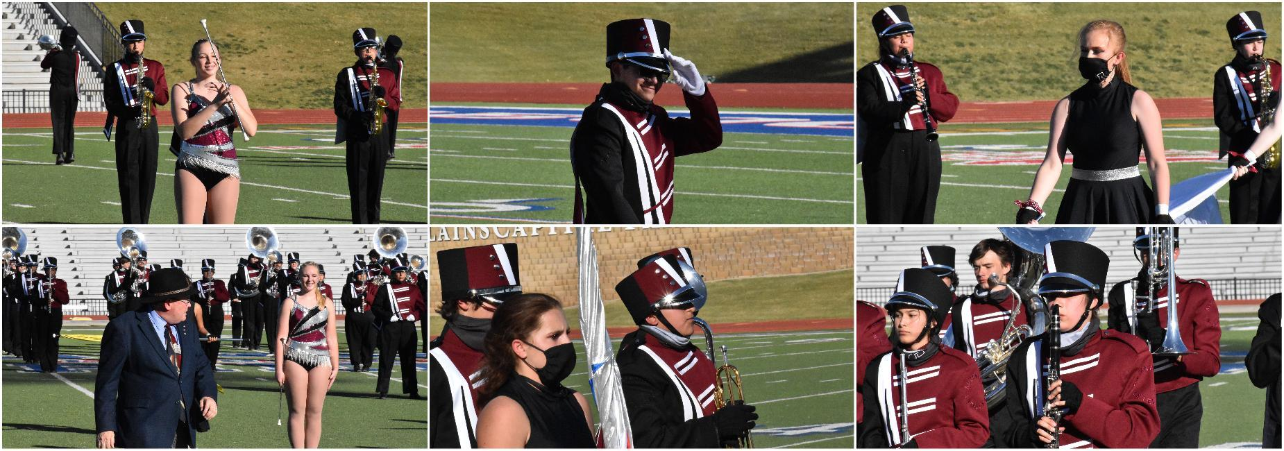 Band members prepare for marching contest