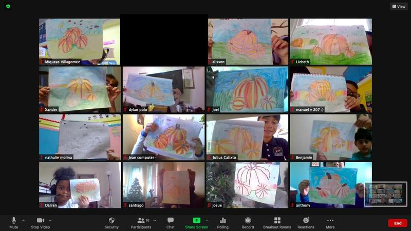 Students showing pumpkin drawings on zoom