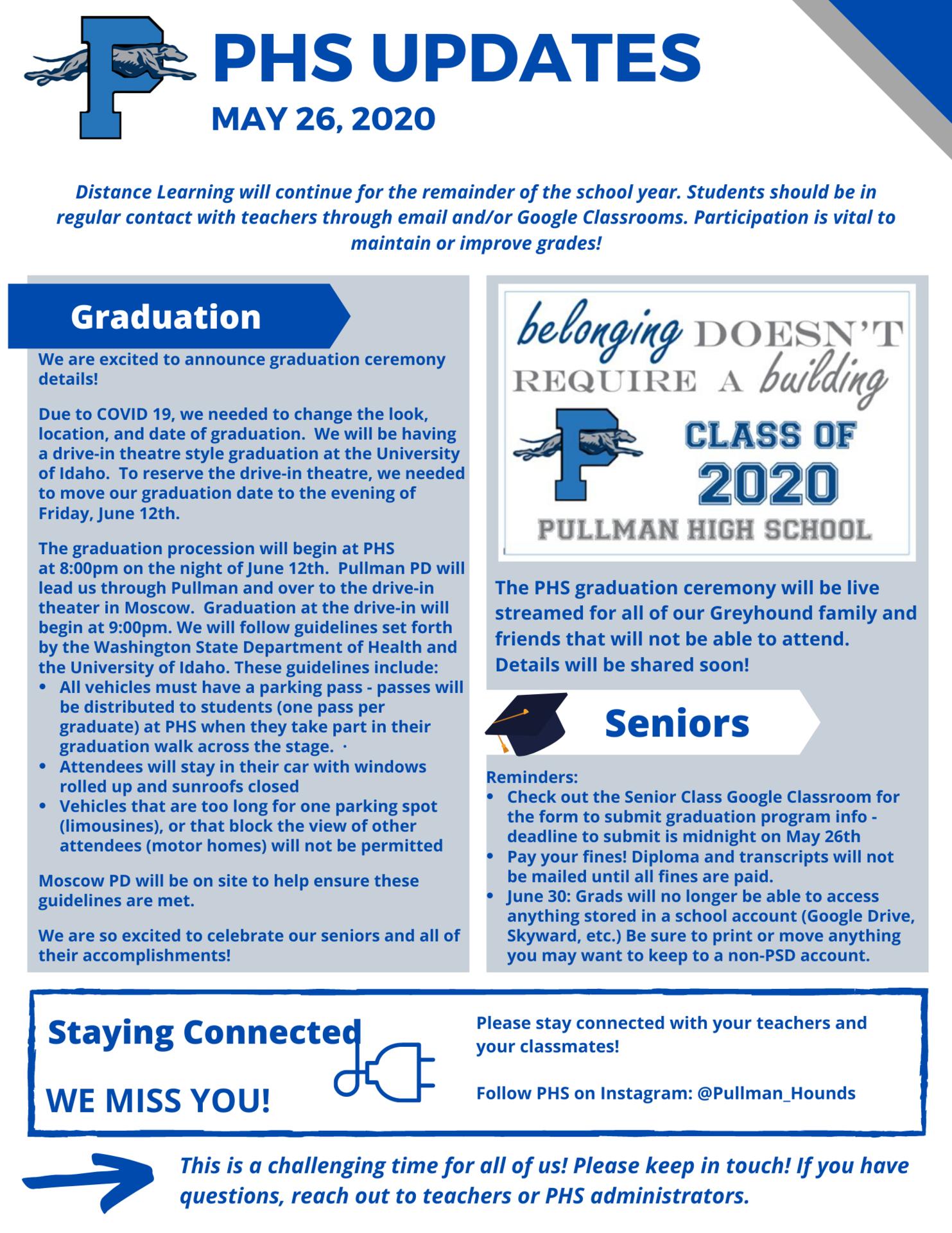 PHS Updates May 26, 2020