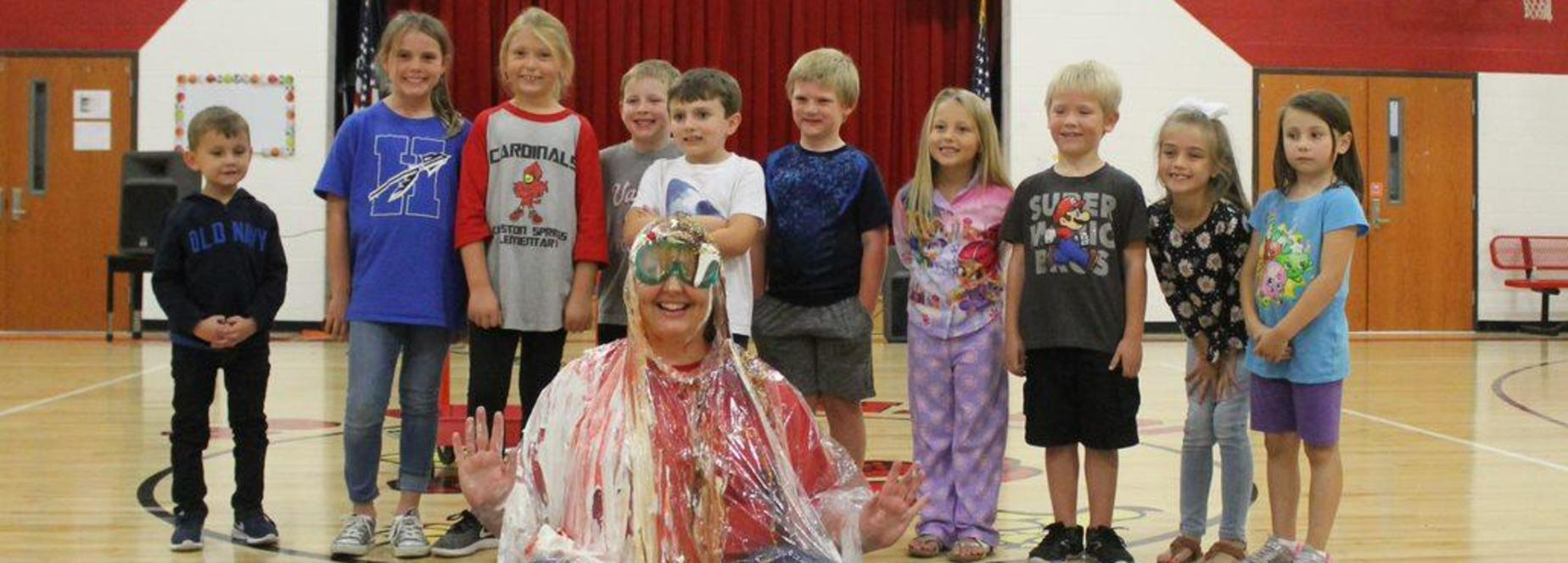 Kingston Springs Elementary School Principal Dawn Wenning was turned into a human ice cream sundae by the school's top sellers in the cookie dough fundraiser.
