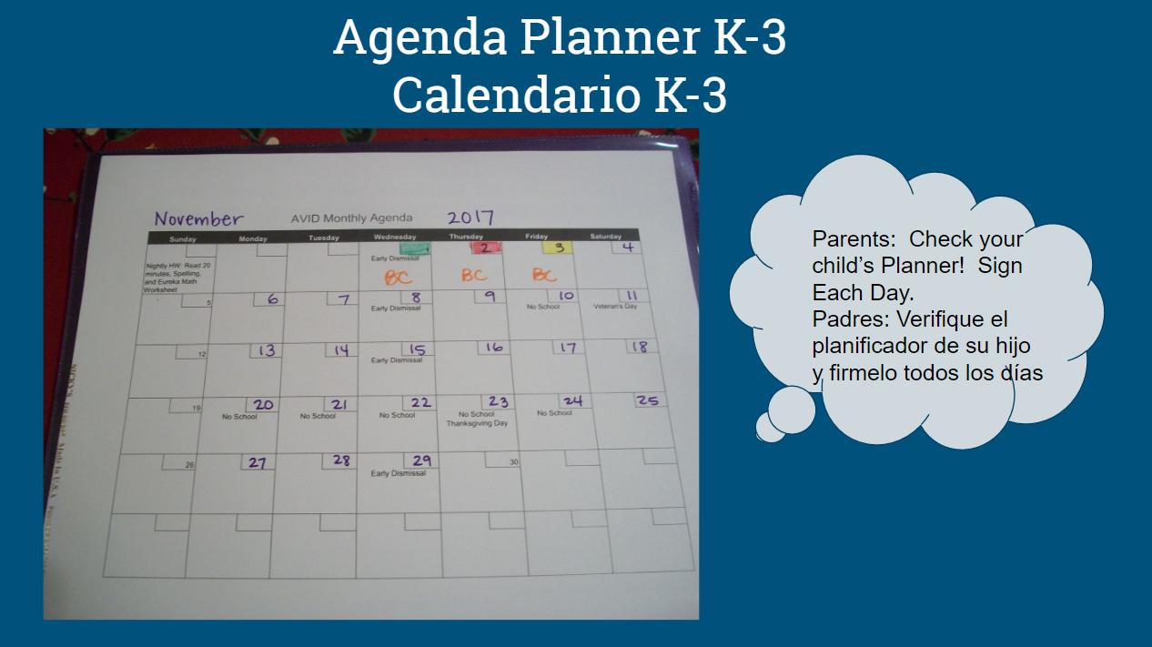 K-3 Agenda Planner