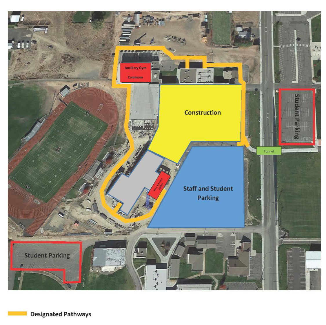 Aerial view showing construction zone and designated pathways for students to safely go to classes.