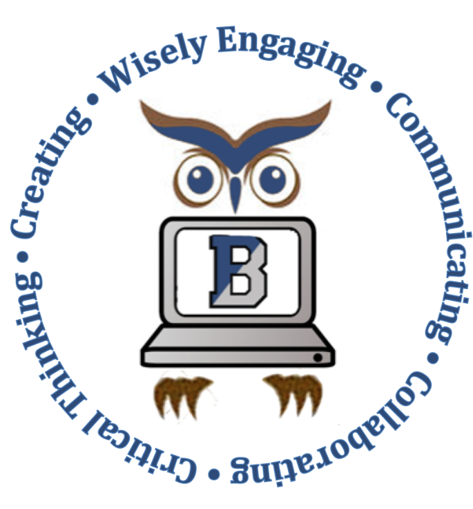 Owl holding a computer with the Bensalem B logo on screen