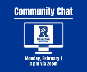 Community Chat, Monday, February 1, 3 pm Via Zoom