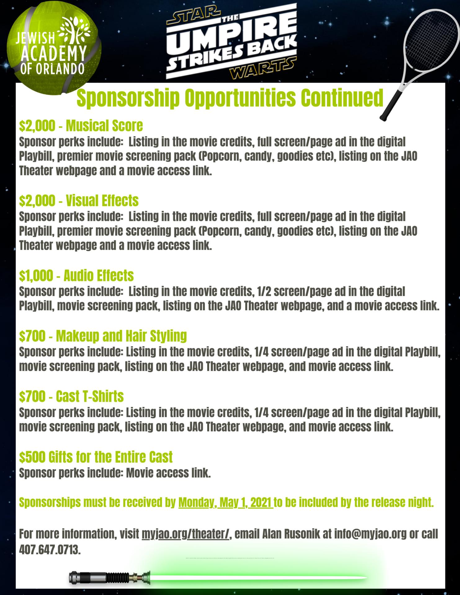 Sponsorship levels flyer page 2