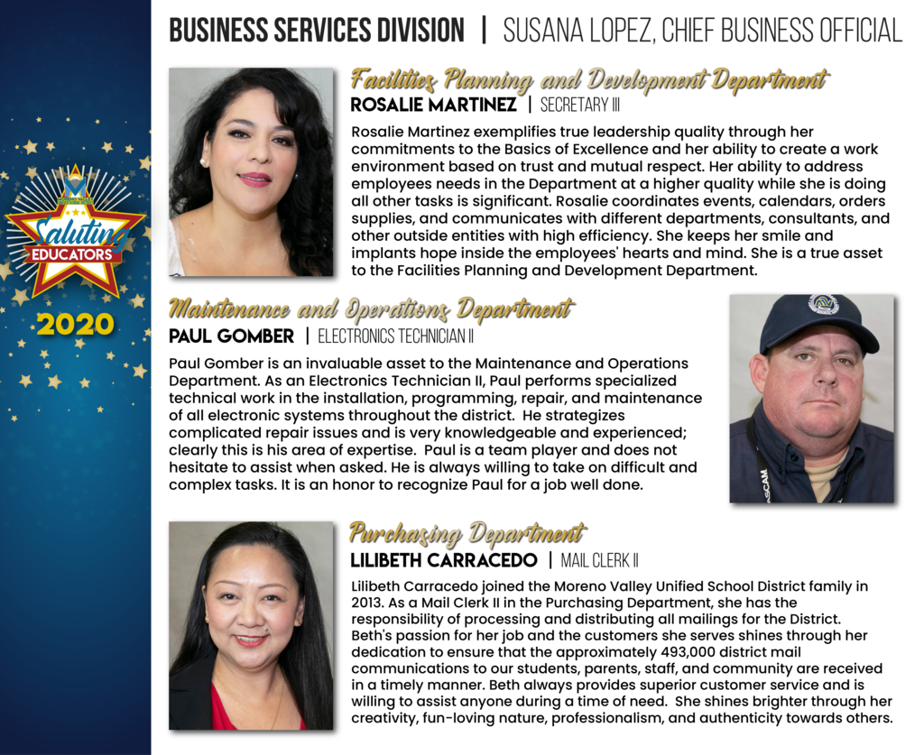 Business Services Division Employees of the Year