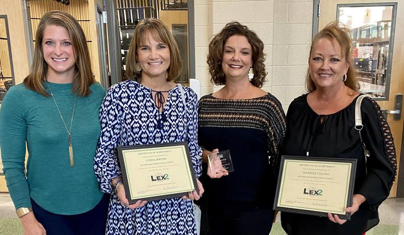 Riverbank Elementary's three honorees at Tuesday's reception (posing with AP Karen Holloman, left)