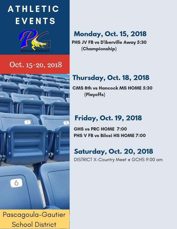 Athletic Events for Week of Oct. 15, 2018