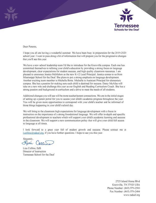 Image of DOI Parent Letter