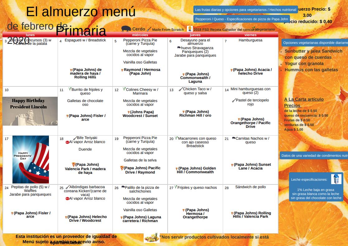 Menu del almuerzo de febrero 2020
