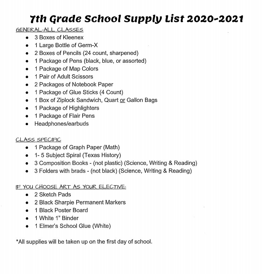 7 supply list