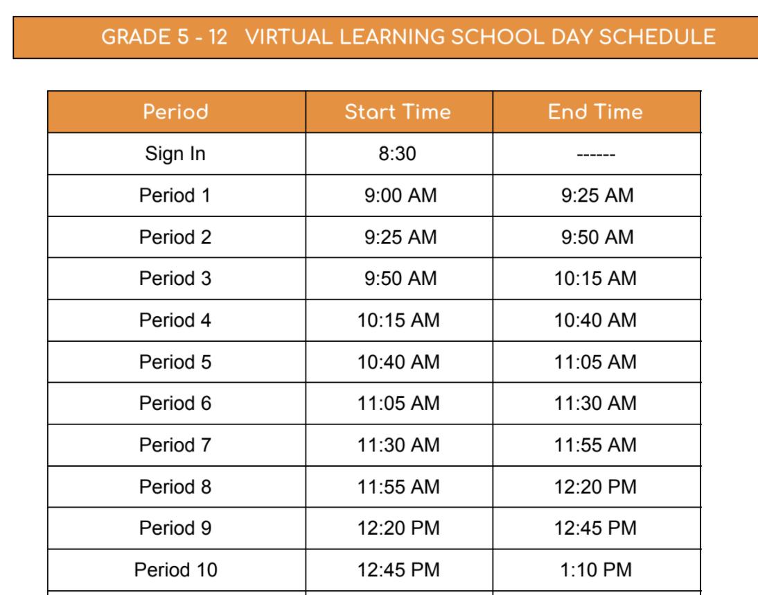 Corona Schedule