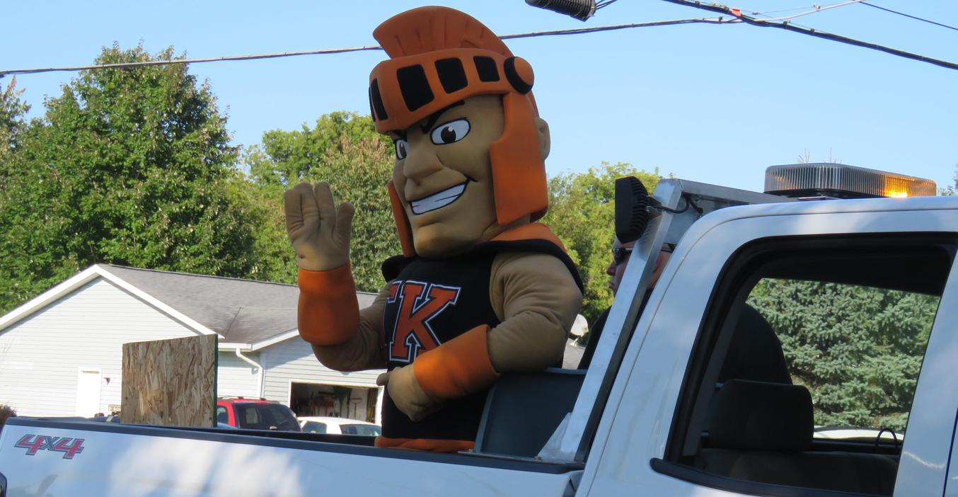 The TK Trojan mascot rode in the homecoming parade.