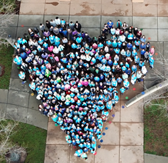 Rocklin Academy staff in a heart shape