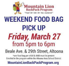 Mt. Lion Backpack Pick-Up March 27th