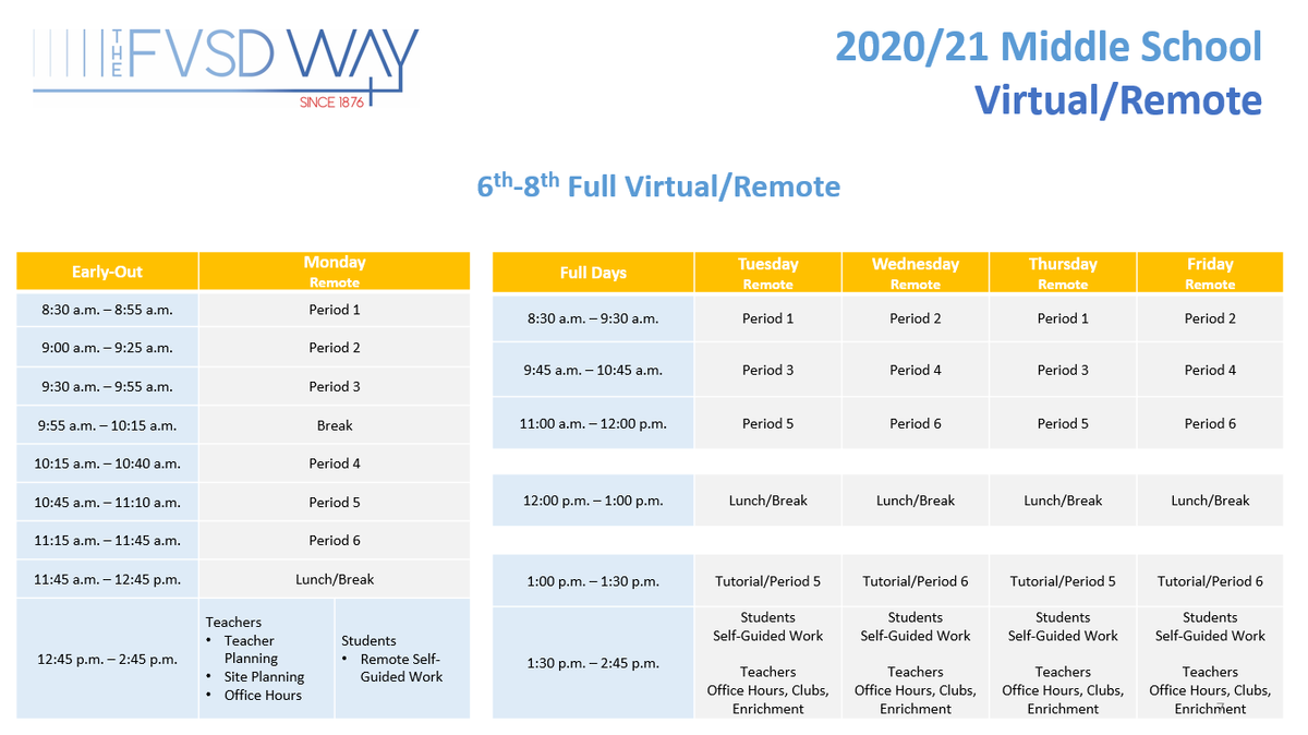 Virtual/Remote Daily Schedule - please contact Ed Services if you need assistance