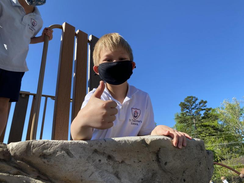 St. Timothy's School student given a thumbs up to the new space.