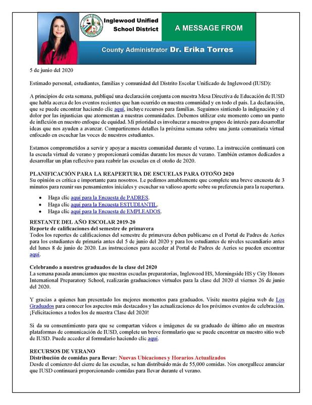 Comunicacion a Padres y Familias 6-5-20 Featured Photo
