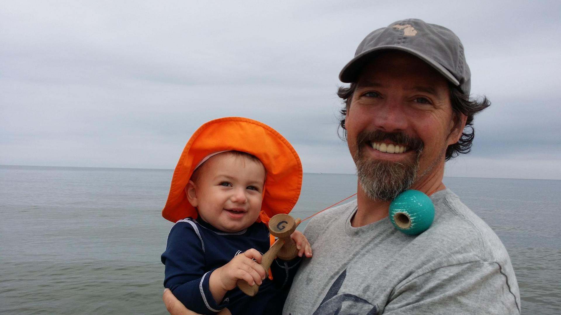 Finley and I on Lake Michigan many years ago.
