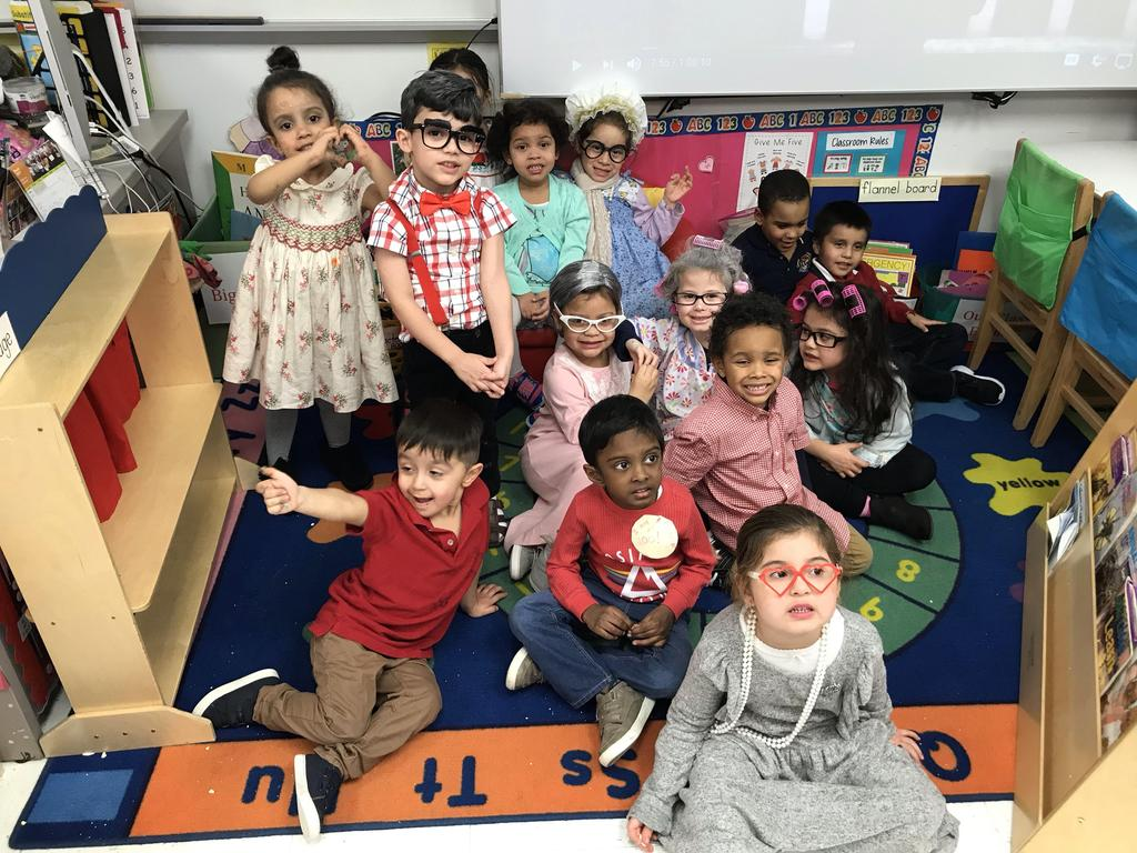 kindergarten class dresses as old people