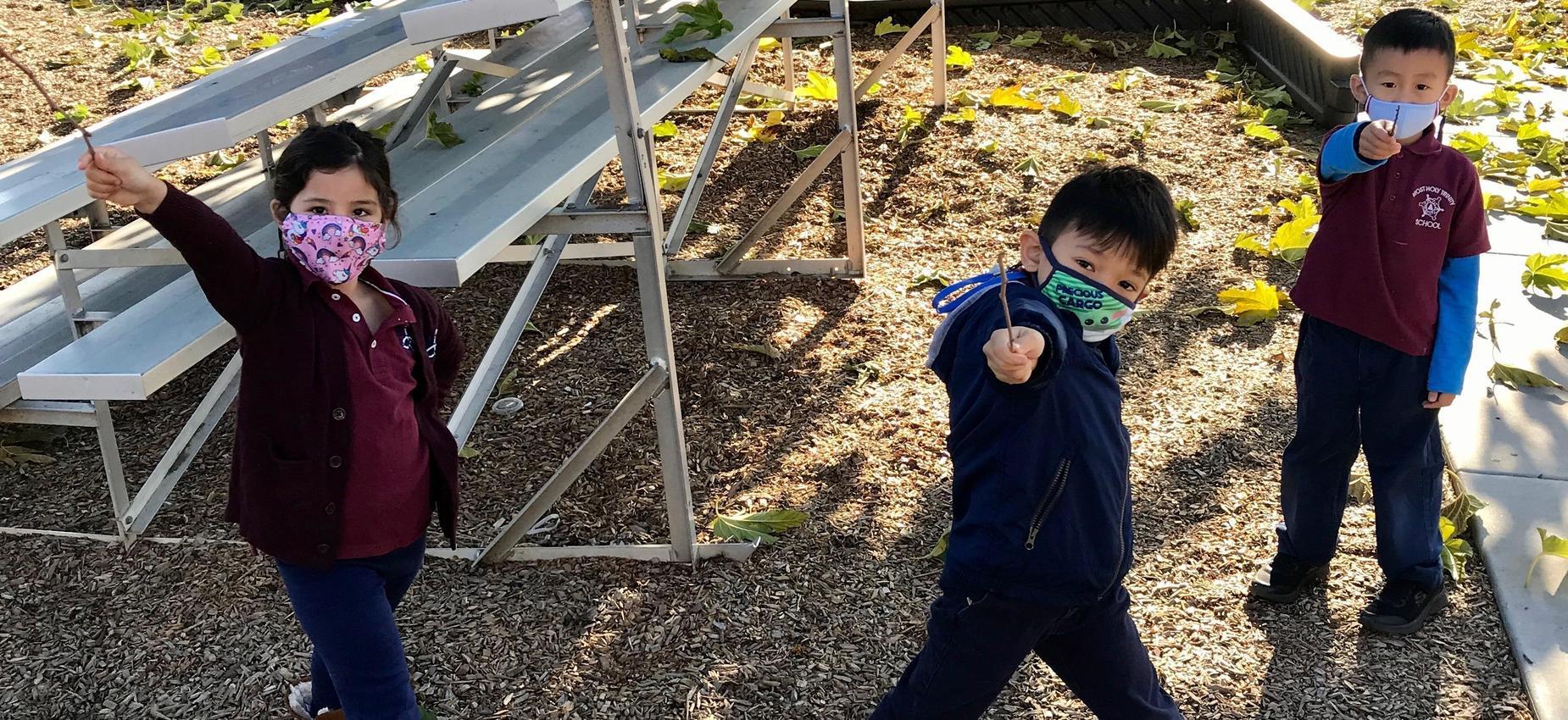 Kindergarteners with Wands
