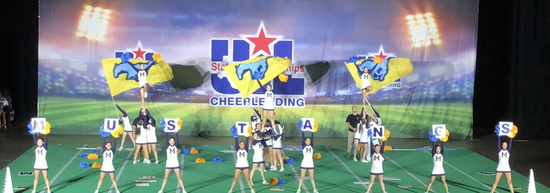 cheerleaders at UIL State championships