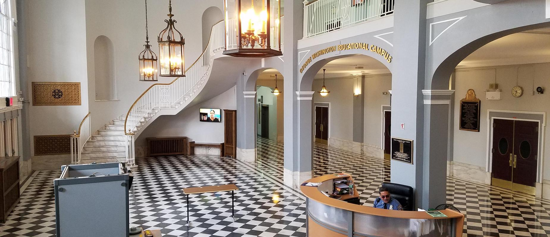 The lobby of George Washington Educational Campus