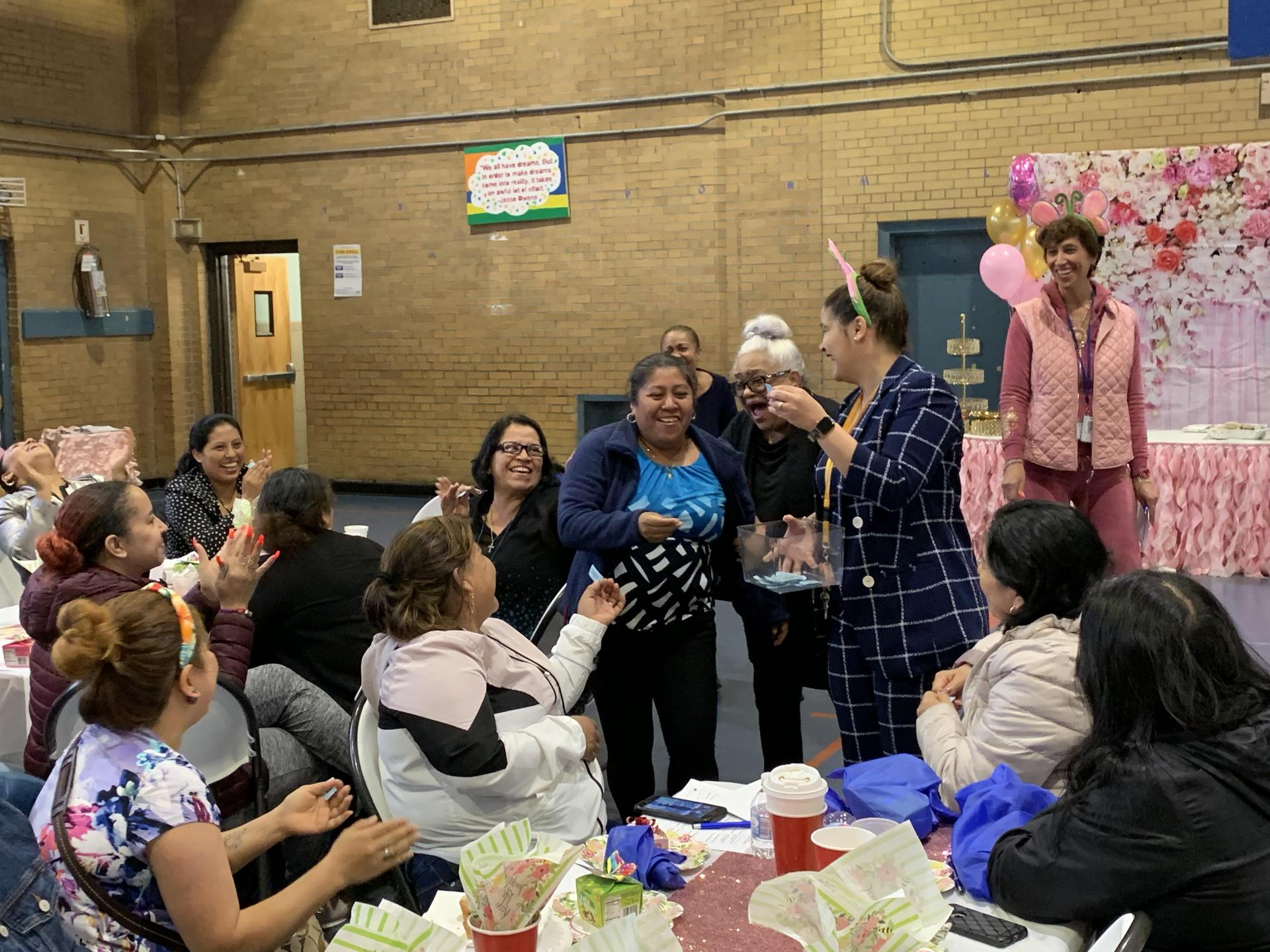 parents and principal at valentine's day event