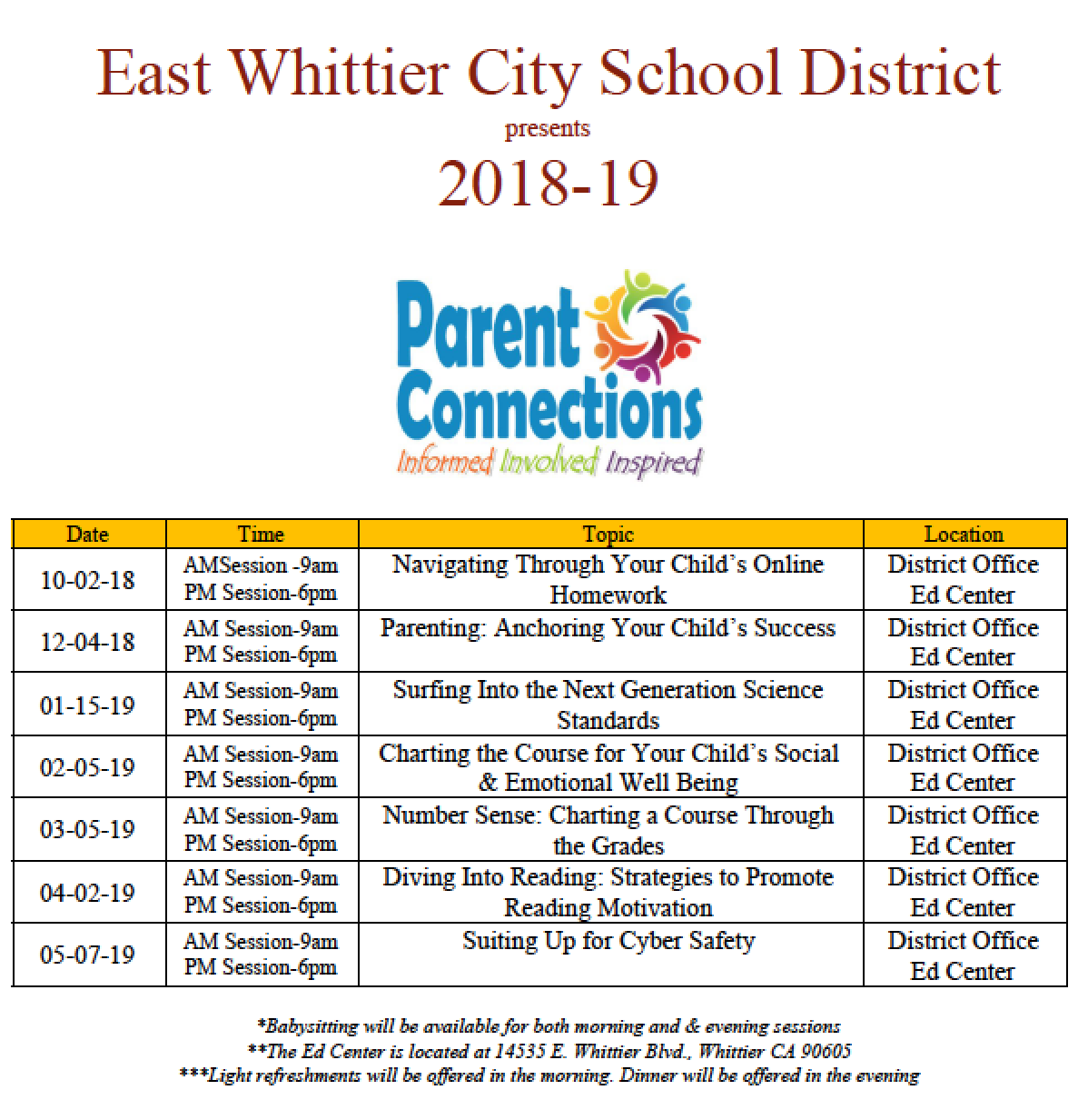 Parent Connection Workshop Schedule 2018-2019