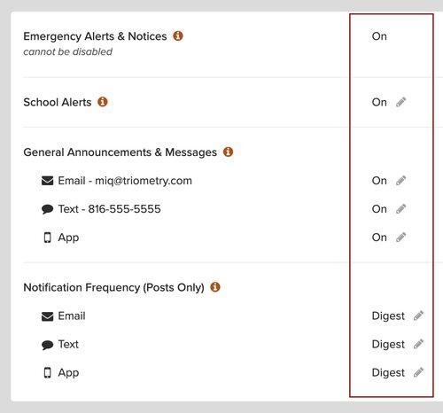 Screenshot of notification settings in ParentSquare