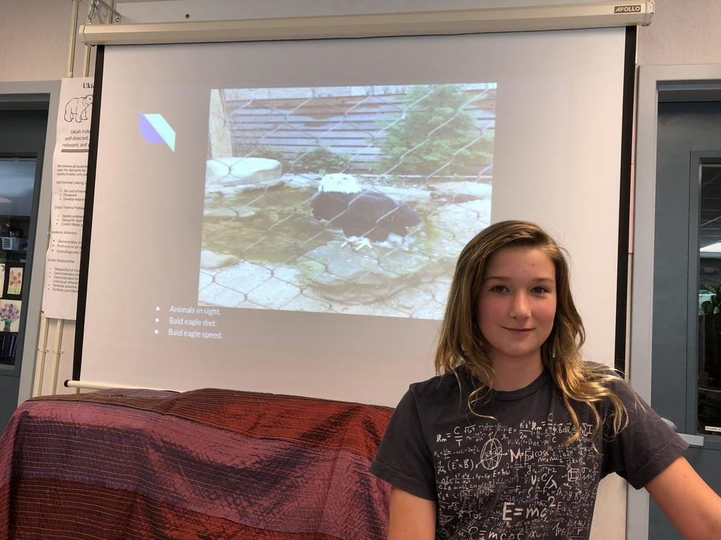 Student presenting on Eagles.