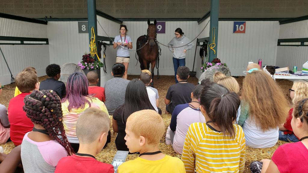students listening to presentation with horse