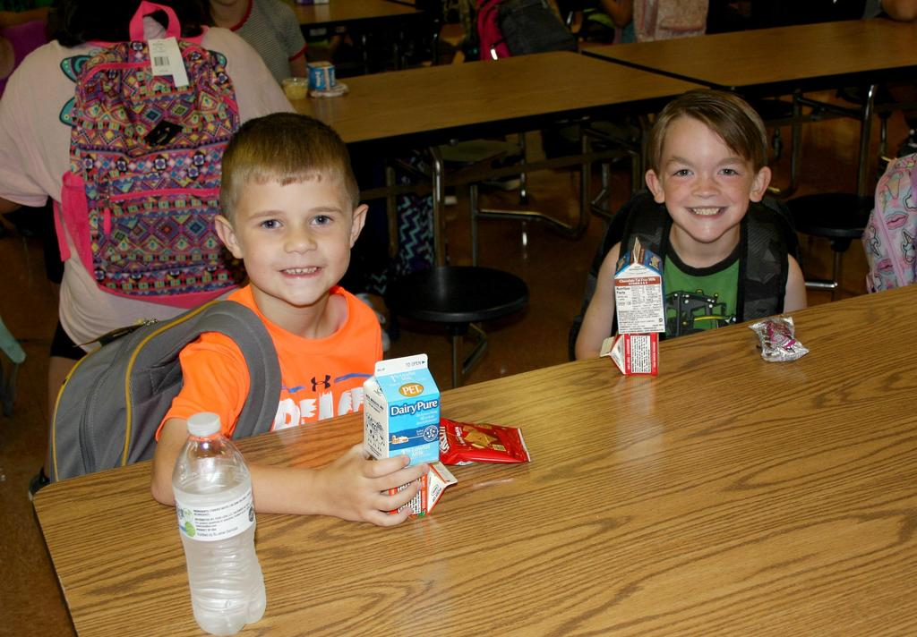 Students eating breakfast on the first day of school at Mt. Pleasant Elementary.