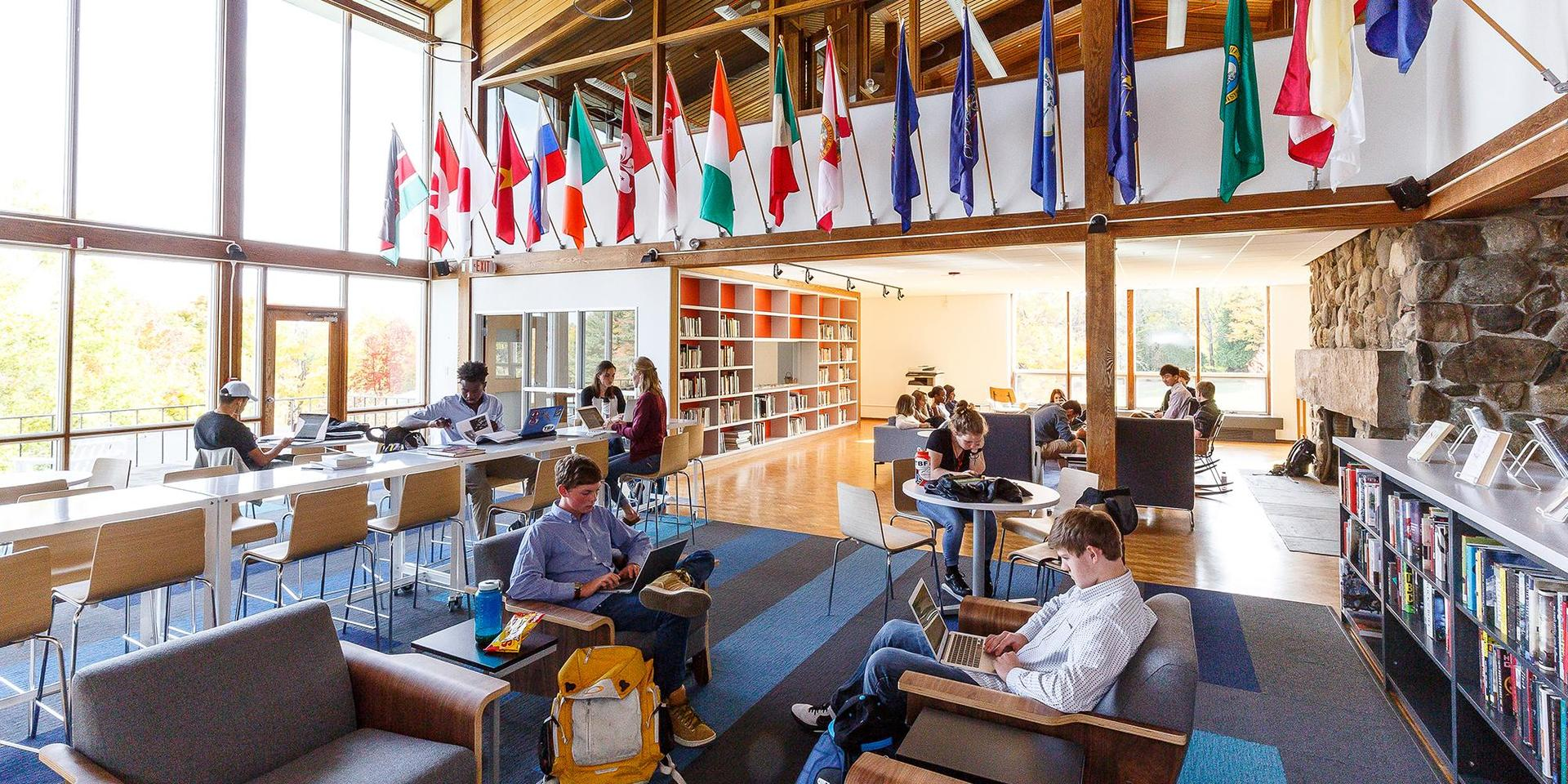 Students studying in McGoldrick Library and Research Center.