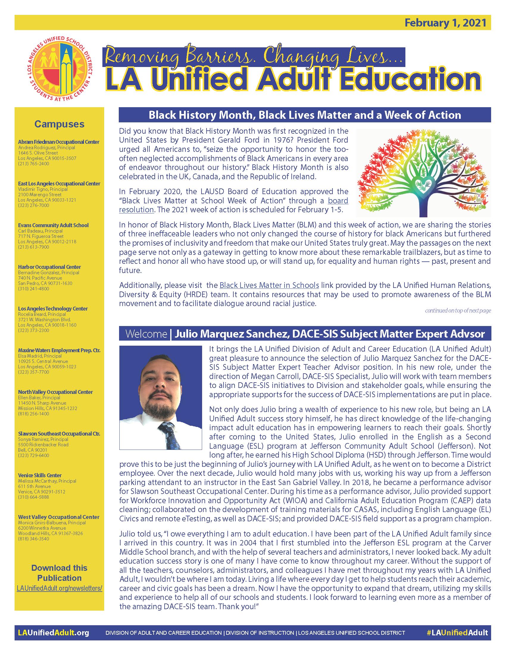 DACE Newsletter - February 1, 2021 Thumbnail