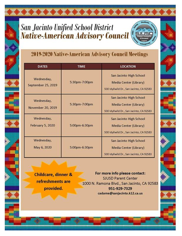 Flyer with SJUSD Native American Advisory Council dates for 2019-20