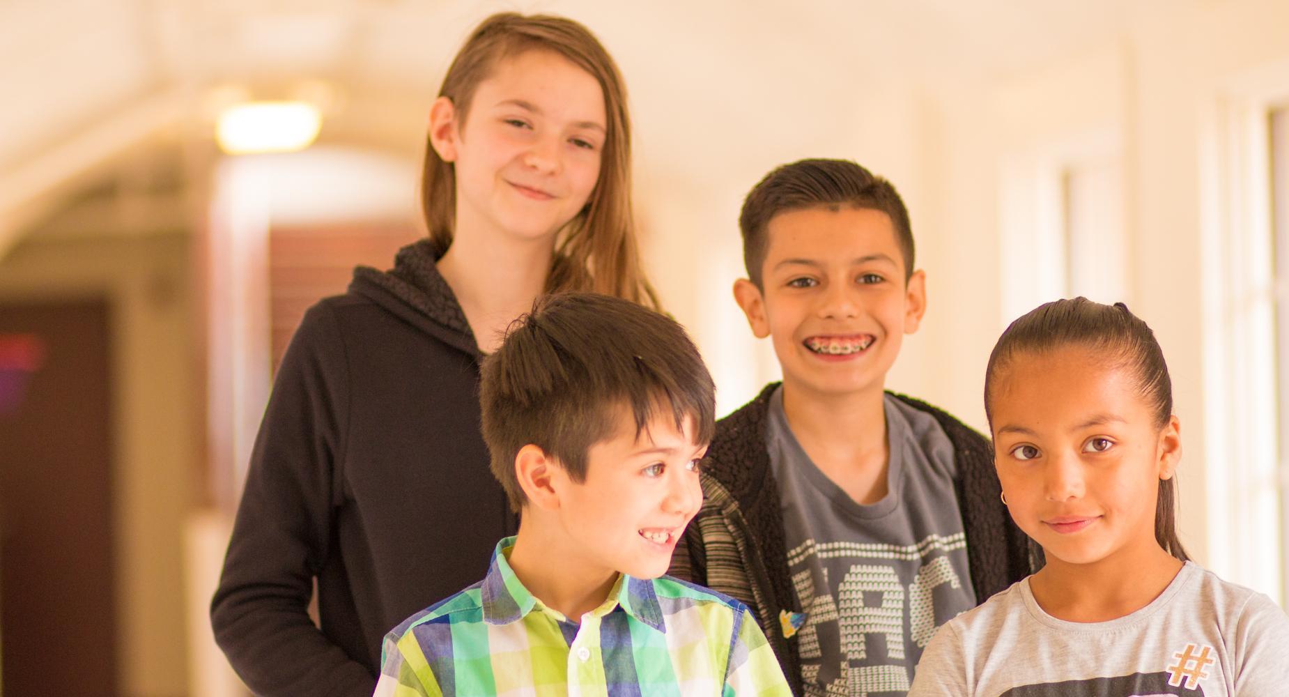 4 Children in the hallway