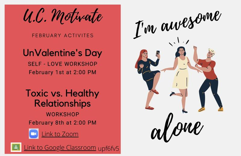 UC Motivate February Activities list